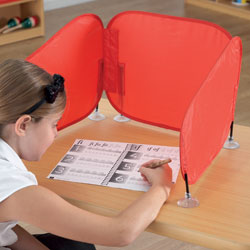 TTS Pop Up Concentration Desk Barrier - in Red