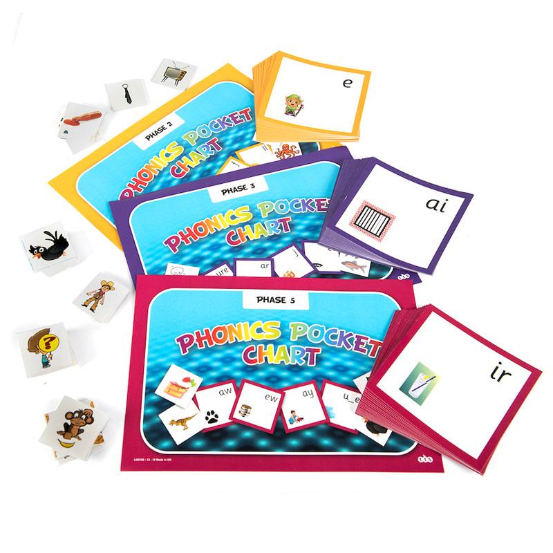Phonics Pocket Wall Chart Bumper Pack - includes Phases 2, 3 & 5 - each 114cm x 60cm - LI02317