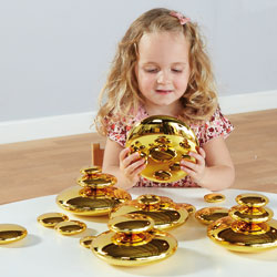TTS Mirrored Stacking Pebbles Gold - Set of 20 [EY06518]