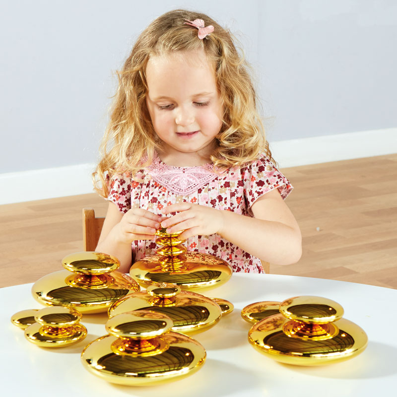 TTS Mirrored Stacking Pebbles Gold - Set of 20 - EY06518