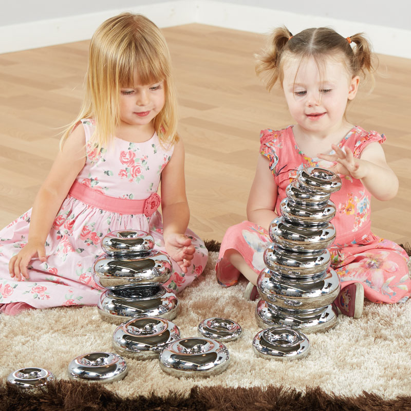 TTS Marvellous Metallic Stacking Donuts - Silver Set of 16 - EY06028