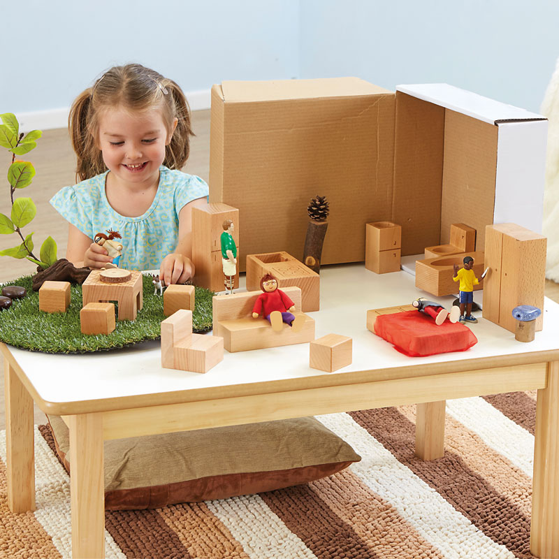 TTS Toddler Wooden Small World Furniture Accessory Pack - Set of 15 - EY06816