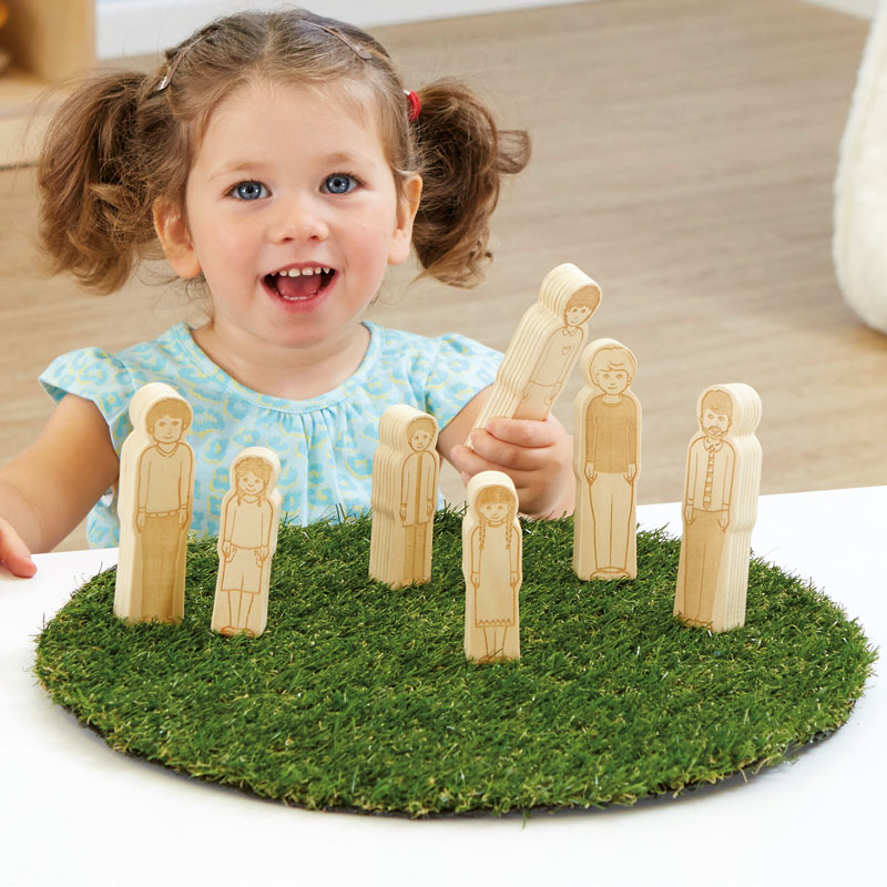 TTS Small World Toddler Wooden Doll Family - Set of 7 - EY06901