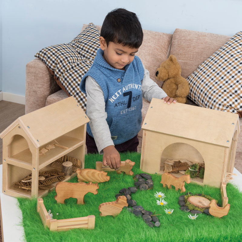 TTS Wooden Farm Buildings Small World Play Set - EY06803