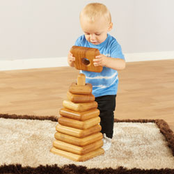 TTS Giant Wooden Stacking Pyramid - Square Shapes [EY06026]