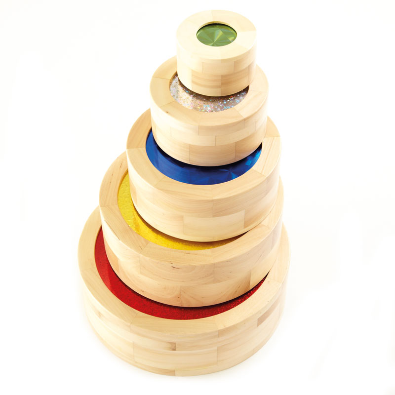 TTS Sparkly Wooden Stacking Cylinders - Set of 5 - EY04131