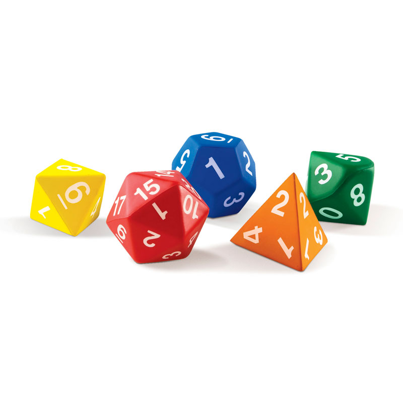 Jumbo Polyhedral Foam Dice - Set of 5 - by Learning Resources - LER7694