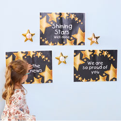 TTS Recordable Talking Metallic Gold Stars - Pack of 6 [EY07353]