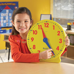 *Box Damaged* Big Time Geared 12 Hour Teacher Demonstration Clock - by Learning Resources