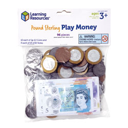 UK Play Money Coins & Notes - Assortment Set of 96 Pieces - by Learning Resources