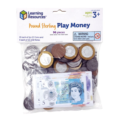 UK Play Money Coins & Notes - Assortment Set of 96 Pieces - by Learning Resources - LSP2629-MUK