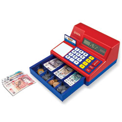 *BOX DAMAGED* Pretend & Play Calculator Cash Register with Play Money - by Learning Resources