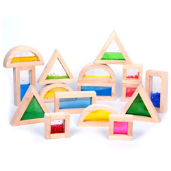 Sensory Rubberwood Filled Shape Blocks - Set of 16