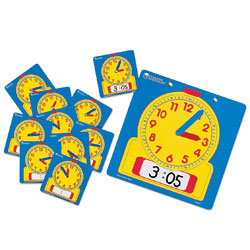 Wipe Clean Classroom Clock Set - 1 Teacher & 24 Student Clocks - by Learning Resources