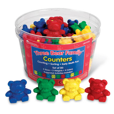 Three Bear Family Counters in Four Colours - Set of 80 - by Learning Resources - LER0725