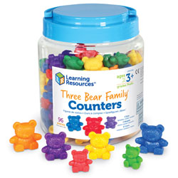 Three Bear Family Counters in Six Colours - Set of 96 - by Learning Resources