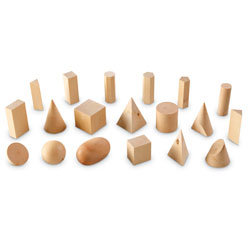 Wooden Geometric Solids - Set of 19 - by Learning Resources