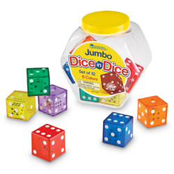 Jumbo Dice in Dice - Set of 12 - by Learning Resources