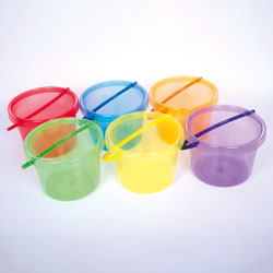 Translucent Colour Rainbow Bucket Set - Set of 6