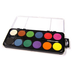 12 Disc Artist Watercolour Paint Set With Brush