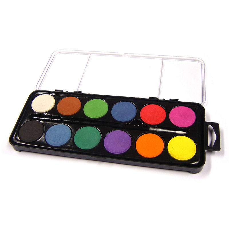 12 Disc Artist Watercolour Paint Set With Brush - MB-Z1004