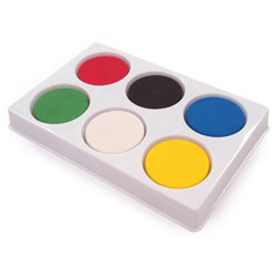 6 Well Palette with Watercolour Paint Blocks - Medium