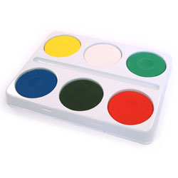 6 Well Palette with Watercolour Paint Blocks - Large