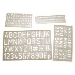 Lettering Stencils 5-30mm - Set of 4