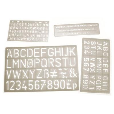 Lettering Stencils 5-30mm - Set of 4 - MB4001-4