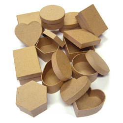 Paper Mache Boxes - Set of 12