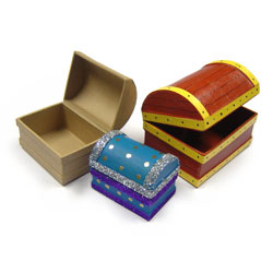 Paper Mache Treasure Chests - Set of 3