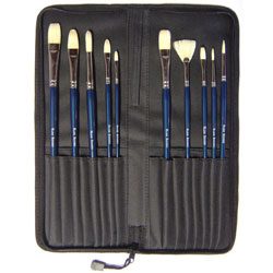 Oil Painting Brush Set with Case - Set of 10