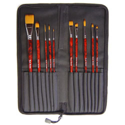 Acrylic Painting Brush Set with Case - Set of 10