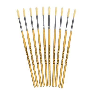 Hog Short Brushes: Round Tip, Size 6 - Pack of 10 - MB58306-10