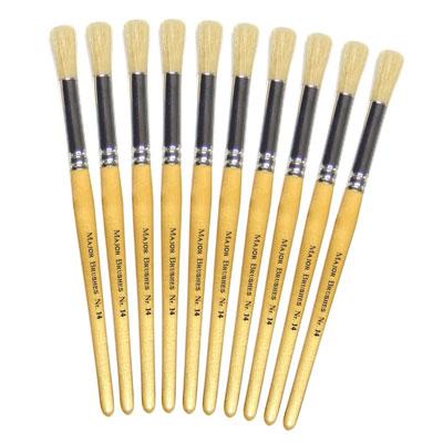 Hog Short Brushes: Round Tip, Size 14 - Pack of 10 - MB58314-10