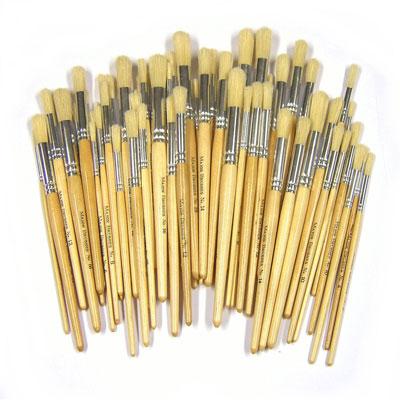Hog Short Brushes: Round Tip Mixed Set - Set of 100 - MB583-100