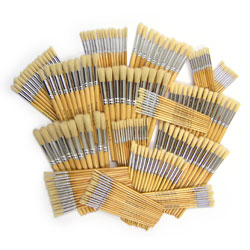 Hog Short Brushes: Round Tip Mixed Set - Set of 200