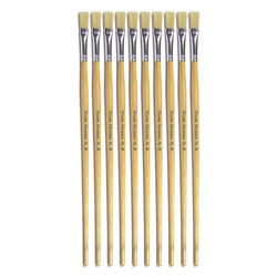 Hog Long Brushes: Flat Tip, Size 8 - Pack of 10