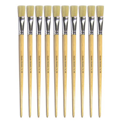 Hog Long Brushes: Flat Tip, Size 18 - Pack of 10