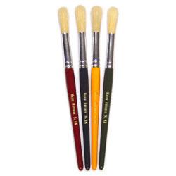 Hog Short Coloured Brushes: Round Tip, Size 18 - Set of 4