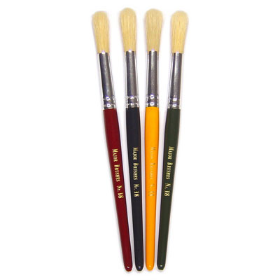 Hog Short Coloured Brushes: Round Tip, Size 18 - Set of 4 - MB58318-4C