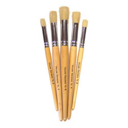 Hog Short Brushes: Flat Stencil Tip, Mixed Set - Set of 5