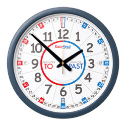 Easy Read Time Teacher Classroom Wall Clock - Past & To - 35cm Diameter