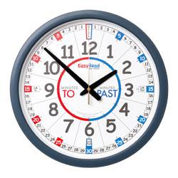 Easy Read Time Teacher Classroom Wall Clock - Past & To - 35cm Diameter