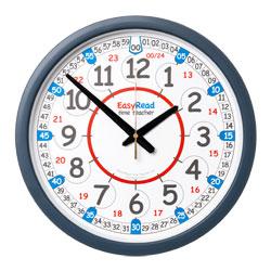 Easy Read Time Teacher Classroom Wall Clock - 24 Hour - 35cm Diameter
