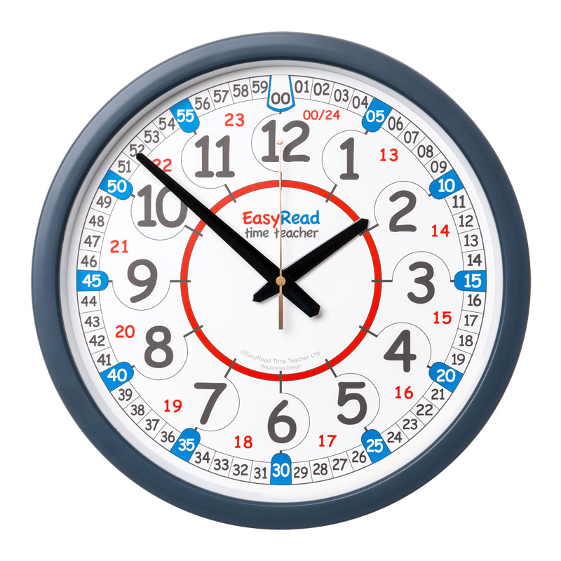 Easy Read Time Teacher Classroom Wall Clock - 24 Hour - 35cm Diameter - ERCC-DIG