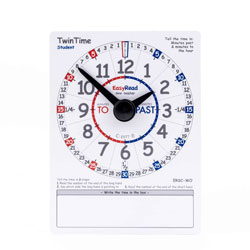 Easy Read Time Teacher TwinTime Student Cards (15 x 20cm) - Pack of 10