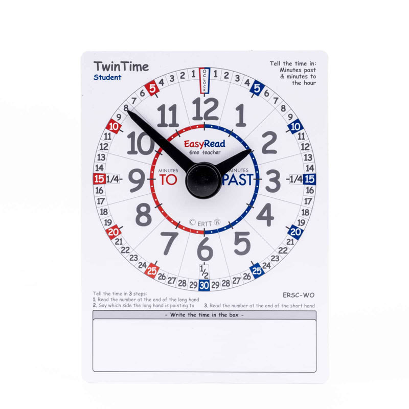 Easy Read Time Teacher TwinTime Student Cards (15 x 20cm) - Pack of 10 - ERSC-WO-10