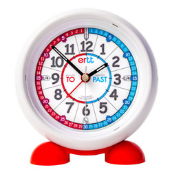 Easy Read Time Teacher Alarm Clock - Red & Blue Face - Past & To