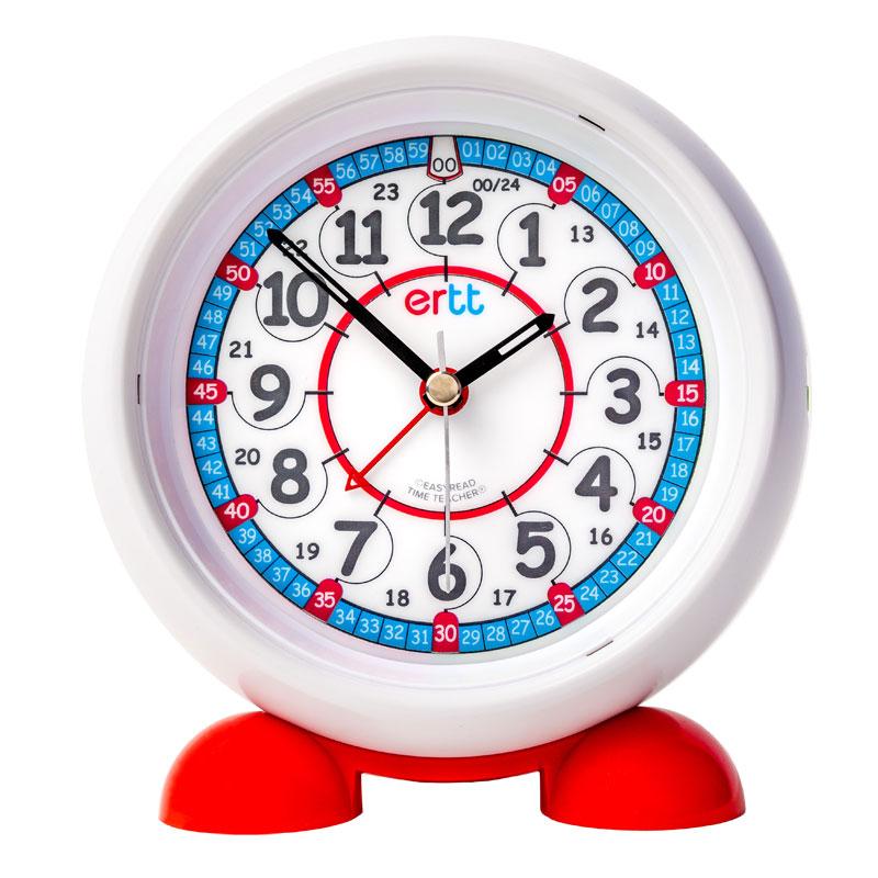 Easy Read Time Teacher Alarm Clock - Red & Blue Face - 24 Hour - ERAC-RB-24